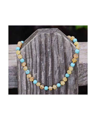 "Luxury Baltic Amber and Turquoise Baby RAW Teething Necklace Rounded Beads -- ""It's A Boy"""
