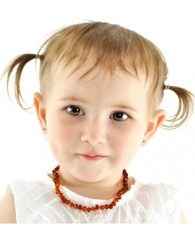 "Baltic Amber Baby Teething Calming Round Beaded Necklace -- ""The Firefly"""
