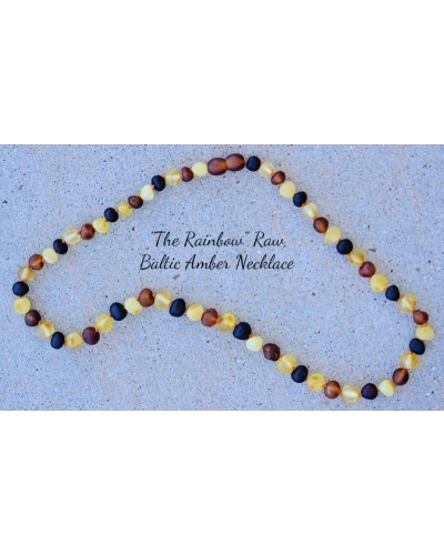 "Baltic Amber RAW Necklace Adult Size 17"" Long -- The RAINBOW Round Beads"
