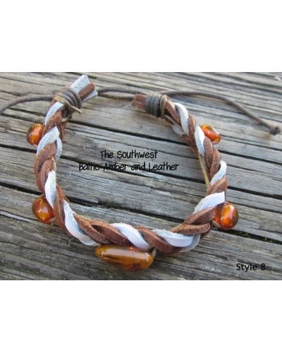 "Baltic Amber and Genuine Leather Adjustable Bracelet -- ""The Southwest"" Style 8"