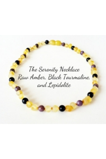 Raw Baltic Amber, Black Tourmaline, Lepidolite CALMING Necklace -- THE SERENITY -- 14