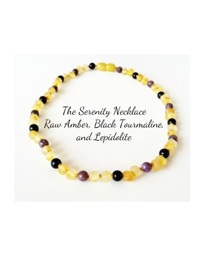 Raw Baltic Amber, Black Tourmaline, Lepidolite CALMING Necklace -- THE SERENITY -- 14""