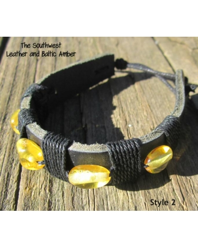 "Baltic Amber and Genuine Leather Adjustable Bracelet -- ""The Southwest"" Style 2"