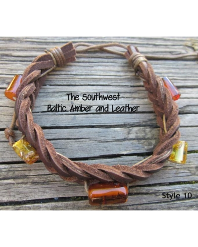 "Baltic Amber and Genuine Leather Adjustable Bracelet -- ""The Southwest"" Style 10"
