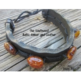 Baltic Amber and Genuine Leather Adjus..