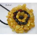 Baltic Amber Flower Pendant Multi-Colo..
