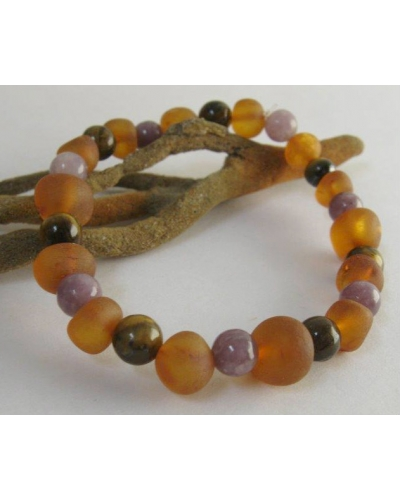 "Amber, Tiger's Eye, Lepidolite Calming Bracelet Custom Sized -- ""The Harmony"""