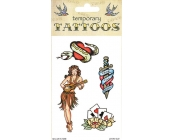 Old School Traditional Theme Temporary Tattoos