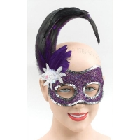 Purple and Silver Sequin Side Feather Eye Mask