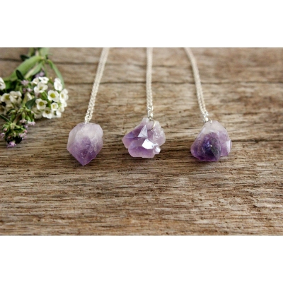 Amethyst Necklace on Sterling Silver. Natural Raw Amethyst..