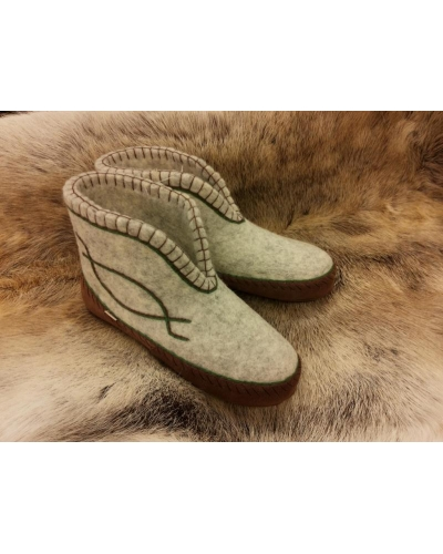 Clemente Felt Slippers brown leather sole