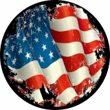 Worn American Flag Spare Tire Cover