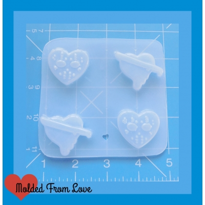 4 Friday the 13th Hearts Handmade Plastic Mold