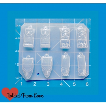 New Small Retro Tiki Pallet of 8 Handmade Plastic Mold