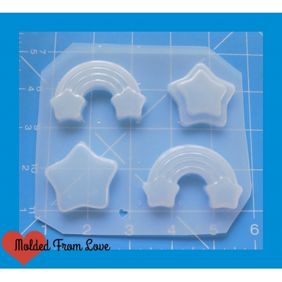 MFL Kawaii Star Rainbows and Stars Pallet Handmade Plastic Mold