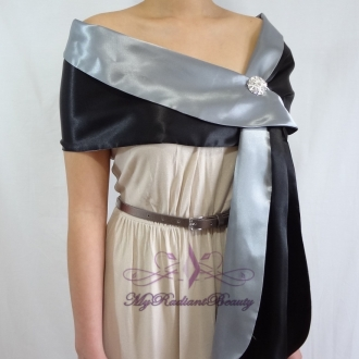 Bridal Double Face Black Grey Silk Satin Evening Wrap Shawl