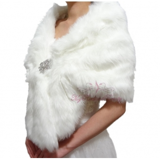 Ivory Faux Fur Wraps.