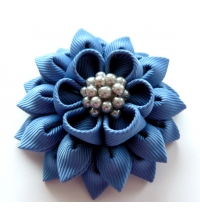 Kanzashi Flower Brooch - blue