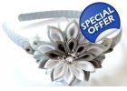Kanzashi Flower Headband - white, grey..