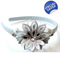 Kanzashi Flower Headband - white, grey and silver - FREE GIFT INCLUDED