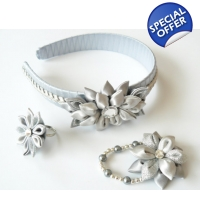Kanzashi Accessory Set - silver and grey