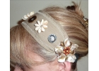 Beige button tribal bellydance headband