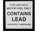 Contains Lead Gas Pump Decal Small