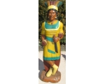 Life Size Hand Carved Solid Wood Indian Woman