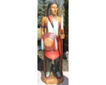 Life Size Hand Carved Solid Wood Indian With Spear