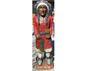 Life Size Hand Carved Solid Wood Indian
