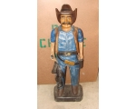 40in Hand Carved Solid Wood Blue Cowboy