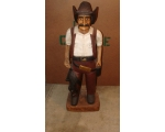40in Hand Carved Solid Wood Cowboy