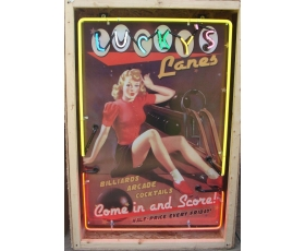 4ft. Lucky's Lanes Pin-Up Girl Neon Sign. Approx. 4 ft. FULL CAN Sign.
