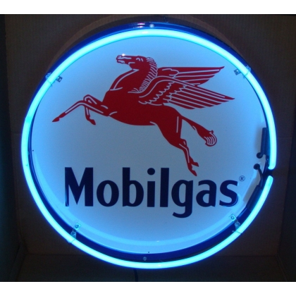 "Mobilgas Neon Sign 25"" Full Canned"
