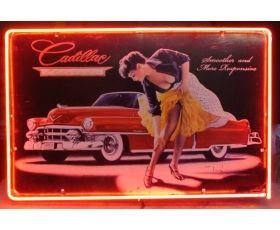 Cadillac Neon Pin Up Full Canister Stunning Red Border. FULL CAN Sign.
