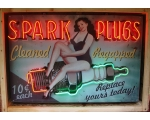 4ft x 3ft Neon Spark Plug Cleaning Advertising S..