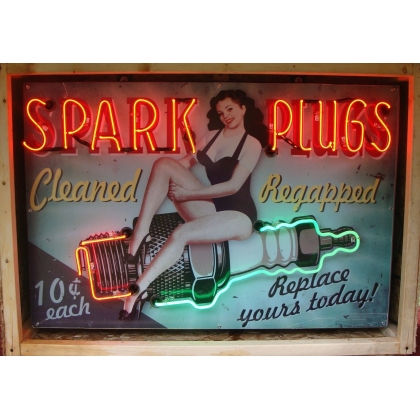 4ft x 3ft Neon Spark Plug Cleaning Advertising Sign