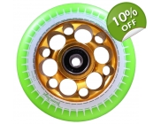 110mm Alloy Core Drilled Wheels - Green & Gold