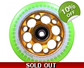 110mm Alloy Core Drilled Wheels - Gold Core, Gre..