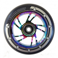 Pro 110mm Swirl Alloy Rainbow Core Scooter Wheel - Black PU