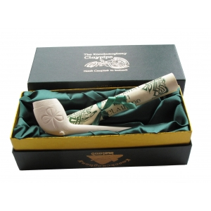 Boxed Clay Pipe with Scroll - Shamrock Design