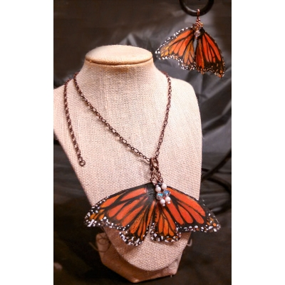 Monarch Butterfly Earrings & Necklace set