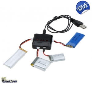 4 in 1 USB Battery Charger For Hubsan, WLtoys, MJX, Syma X..