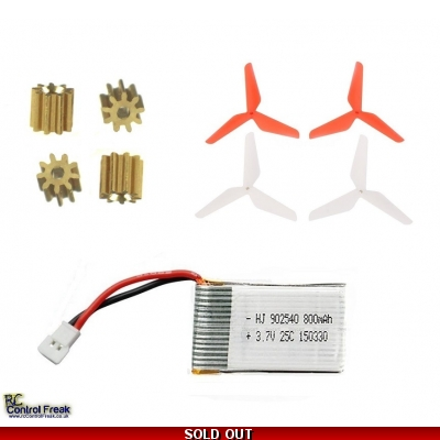 Syma X5C Quadcopter Metal Cogs, Blades, Battery - Upgrade Kit Spares