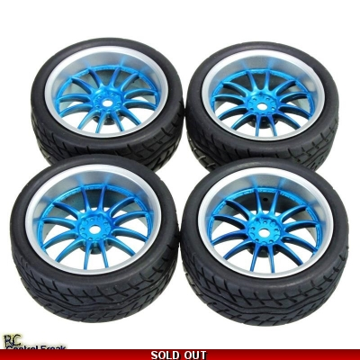 1:10 On Road Racing RC Car Rubber Tires Wheels Tyres 12 Spoke Rims