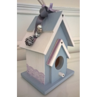 Birdhouse - Blue, Lilac & White