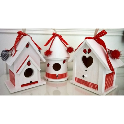 Birdhouse - Red and White