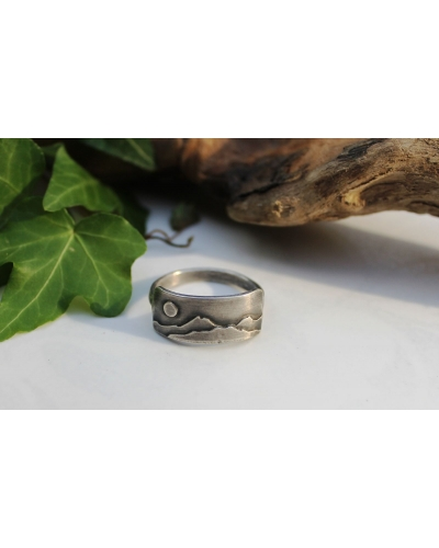 Sterling silver unisex ring, Mountains, half band