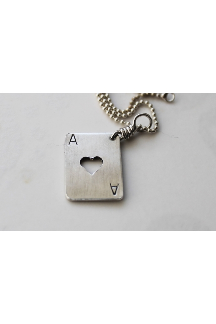 Silver Ace of Hearts unisex pendant