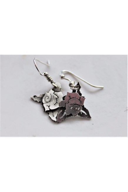 Rose and Leaf sterling silver dangly earrings
